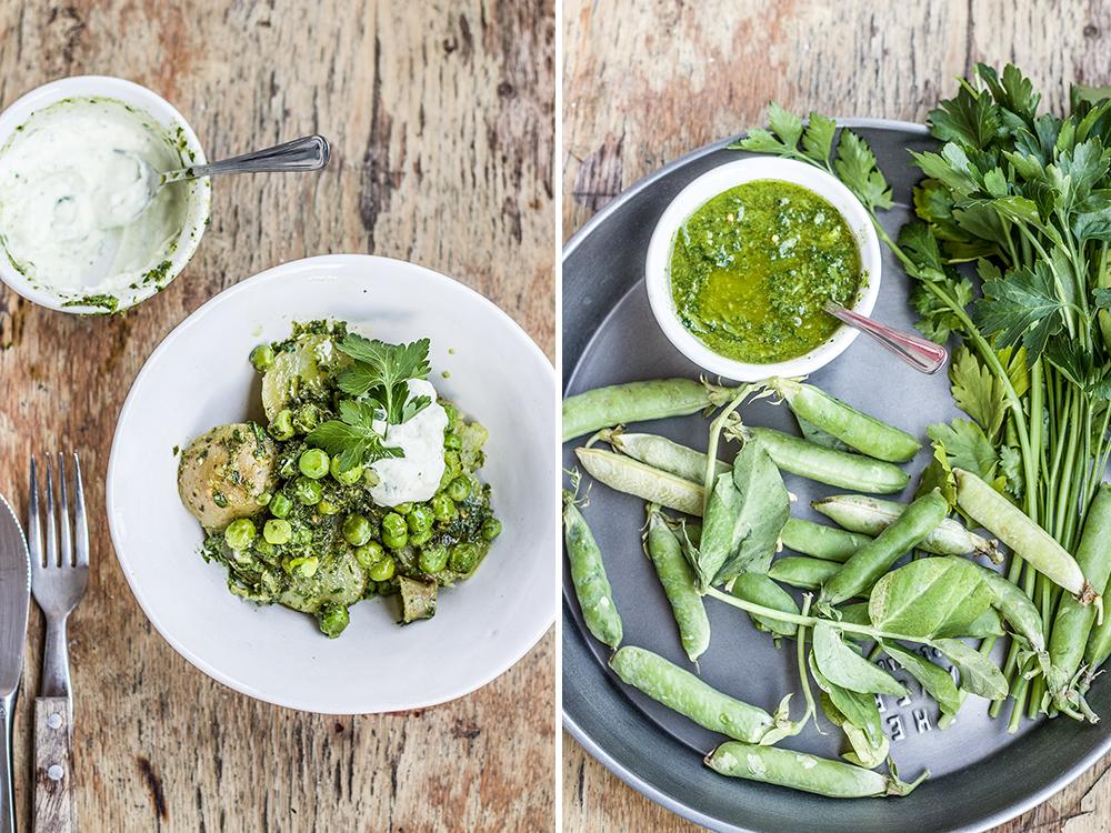 chimichurri and peas