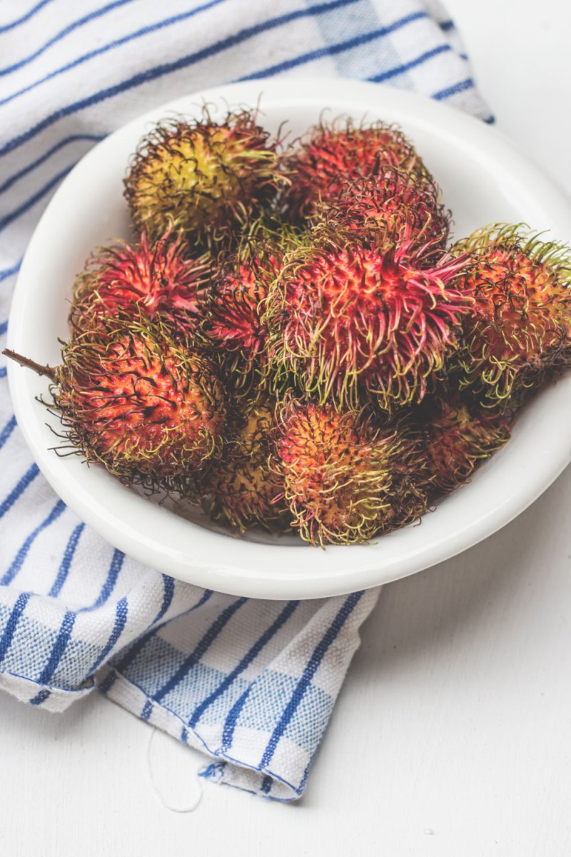 spiky red fruit rambutan